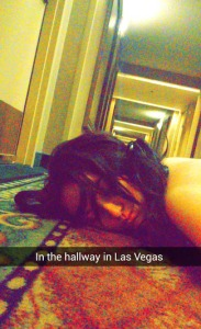 Disheveled in the hallway at Harrah's (but still able to snapchat story the memorable moment)
